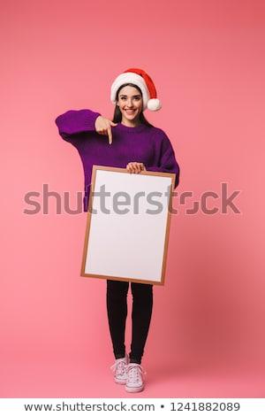 Piękna szczęśliwy młodych emocjonalny kobieta stwarzające Zdjęcia stock © deandrobot