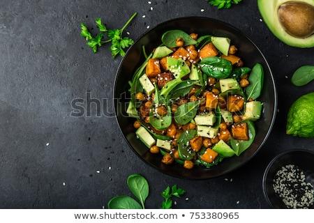 Spenót saláta friss kert salátástál kő Stock fotó © karandaev