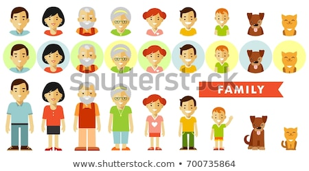 family members mother father son daughter and dog stock photo © robuart