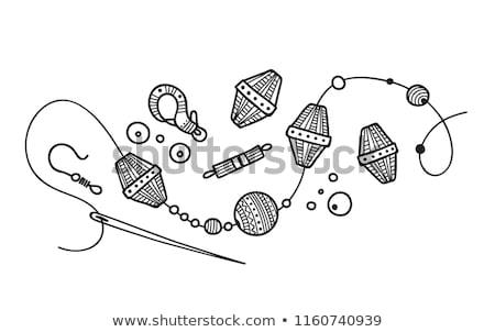 Kezek gyöngyök iparművészet illusztráció tart fonal Stock fotó © lenm