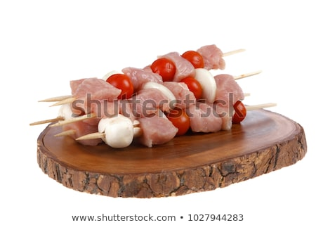 Stock photo: Raw shish kebab skewers  with tomatoes
