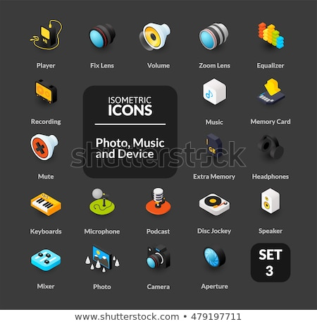 DJ color outline isometric icons Stock photo © netkov1