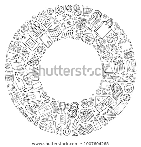 black friday sale round stickers with sketch frame stock photo © robuart