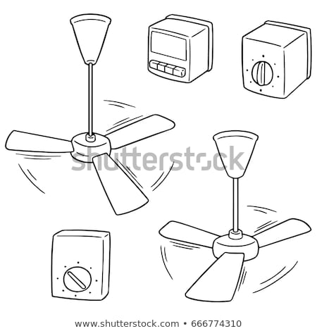 vector set of ceiling fan and fan switch stock photo © olllikeballoon