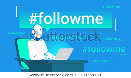 Hashtag follow me concept flat vector illustration of robot assistance for inviting new subscribers. Stock photo © makyzz