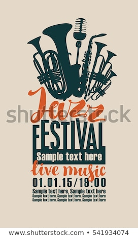 Сток-фото: Vector jazz music poster with trumpet and lettering for festival