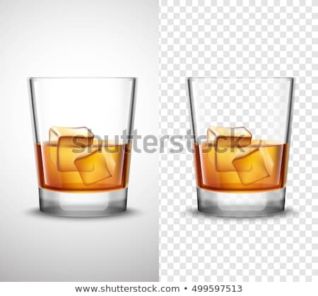 Stockfoto: Realistic Glass With Whisky And Ice Cubes Vector