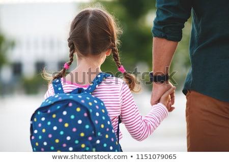 Boldog óvodás sétál iskola hátizsák tavasz Stock fotó © phakimata