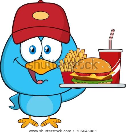 Cute blu uccello burger Foto d'archivio © hittoon