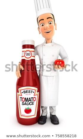 Cabeça chef em pé molho de tomate garrafa ilustração Foto stock © 3dmask