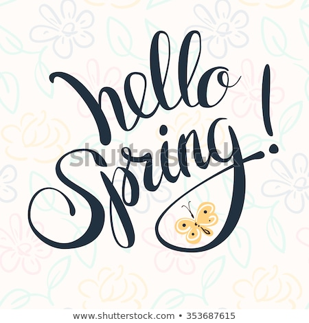 Hello tavasz betűtípus illusztráció virágok természet Stock fotó © colematt
