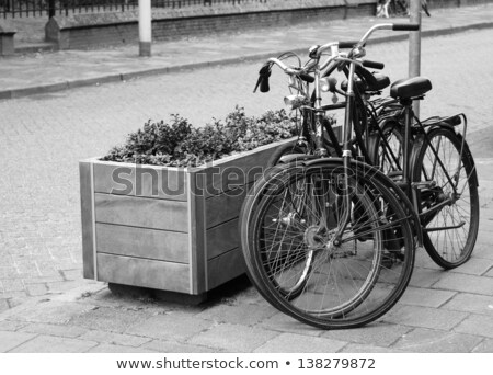Two parked bicycles on the street in Dutch city Stock photo © Melnyk