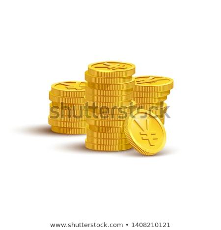 Jen złote monety odizolowany biały działalności metal Zdjęcia stock © olehsvetiukha