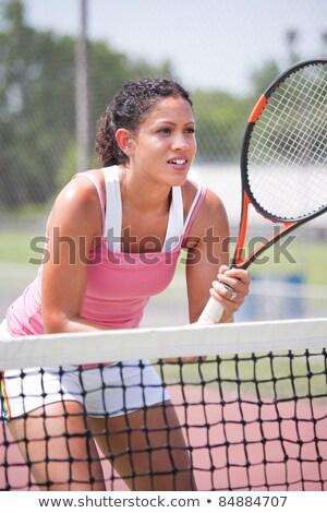 Mooie jonge brunette tennisspeler racket permanente Stockfoto © pressmaster