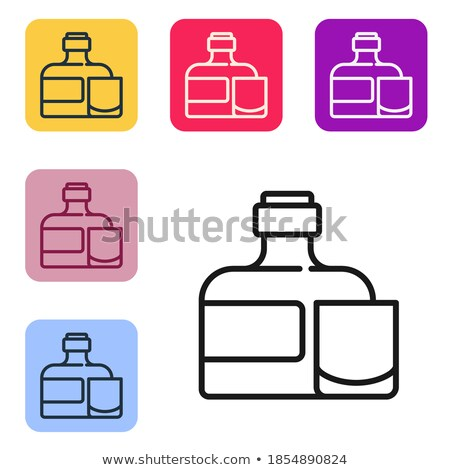 color square glass with rum brandy and ice cubes vector stock photo © pikepicture