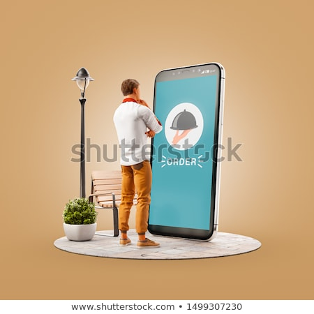 Man messaging smartphone restaurant technologie lifestyle Stockfoto © dolgachov