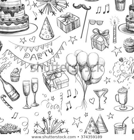 Birthday Muffin Cake With Candle Drawing  Stock photo © patrimonio