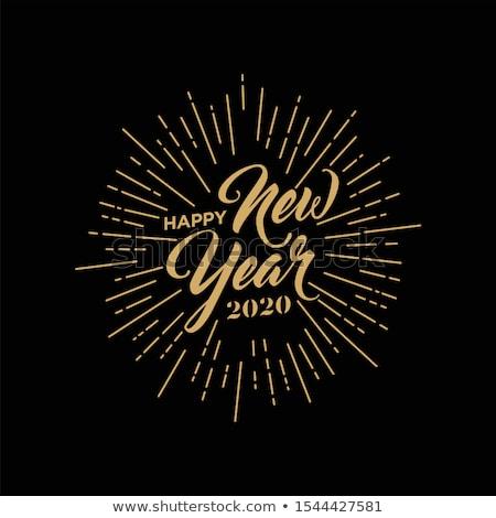 Boldog új évet fekete kézírás izolált fehér ünnep Stock fotó © MarySan