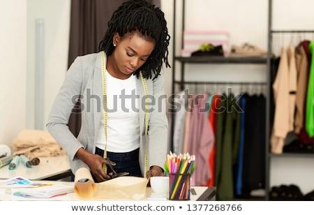 elegante · moda · estilista · trabalhando · medir · oficina - foto stock © Freedomz