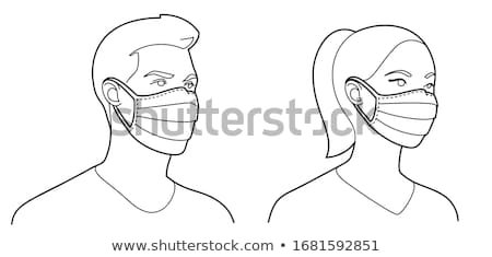 Colorful air pollution face mask, man or woman medical mask vector Stock photo © MarySan