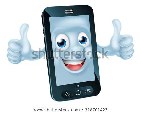 Téléphone portable mascotte dessinée mascotte doubler Photo stock © Krisdog