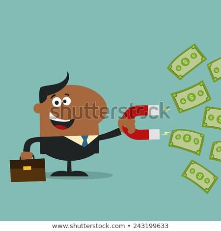 Feliz africano americano gerente ímã dinheiro projeto Foto stock © hittoon