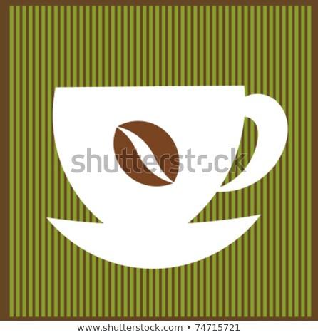 Koffiebonen icon bruin gestreept achtergrond drinken Stockfoto © cidepix