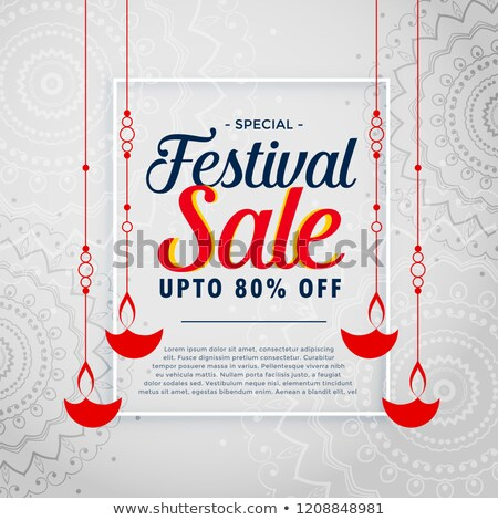 happy diwali sale banner with hanging diya design stock photo © sarts