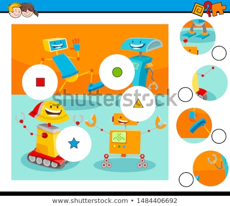 jigsaw puzzle game with cartoon robot stock photo © izakowski