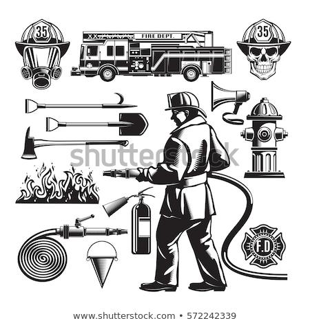 рисованной эскиз пожарный череп шлема борода Сток-фото © netkov1