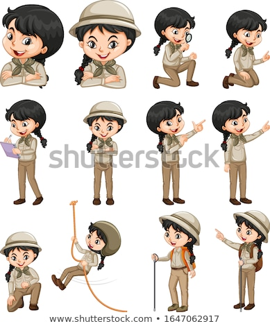 Girl in safari outfit doing different things Stock photo © bluering