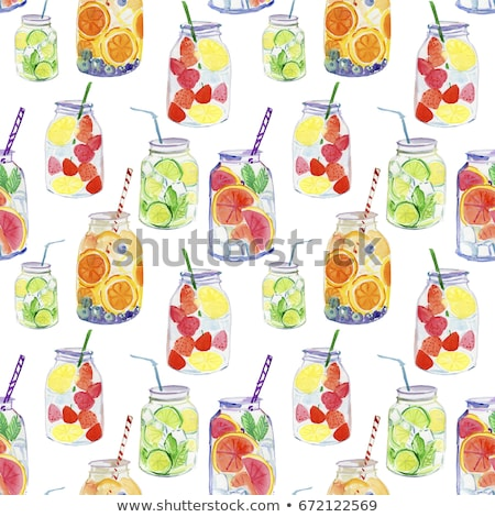 Detox superfood strawberry smoothie bottle for weight loss clean Stock photo © Anneleven