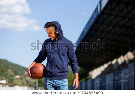 portrait of smiling boy in blue hoodie Stock photo © dolgachov