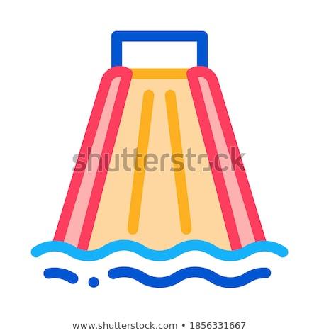 Slide beneden zwembad icon vector schets Stockfoto © pikepicture
