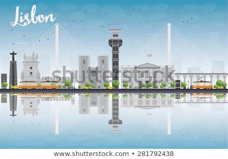 Lissabon skyline grijs gebouwen blauwe hemel Stockfoto © ShustrikS