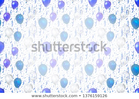 Serpentine and confetti with blue and white balloons on white wide background Stock photo © evgeny89