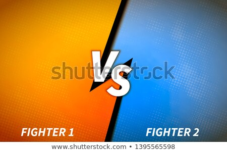 Versus screen template, battle headline in orange and blue colours with halftone pattern Stock photo © evgeny89