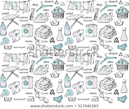 Laundry room seamless pattern. Washing machine - line icon on blue Stock photo © natali_brill