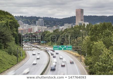 Stock fotó: Oregon · autópálya · tábla · zöld · USA · felhő · utca