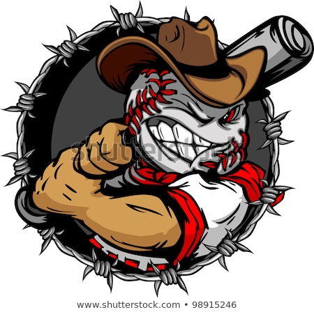 Baseball Shootout Cartoon Cowboy Stock photo © chromaco