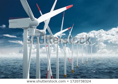 Windturbines on a dike Stock photo © Hofmeester
