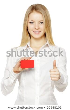 oké · felirat · boldog · fiatal · szőke · nő · üzletasszony - stock fotó © darrinhenry