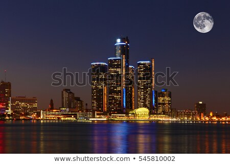 Stockfoto: Detroit · nacht · maan · skyline · Michigan