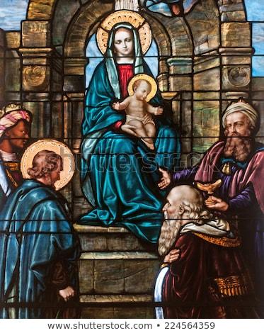 Glasmalerei Szene Jungfrau Kirche Fenster Mutter Stock foto © skylight