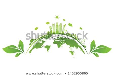 Verde planeta logotipo de la empresa resumen tierra flechas Foto stock © -Baks-