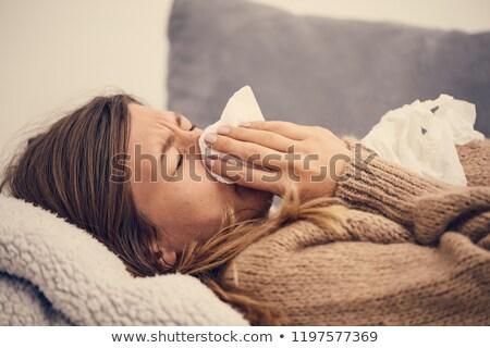 Beteg nő influenza tél ruházat tart Stock fotó © Amosnet