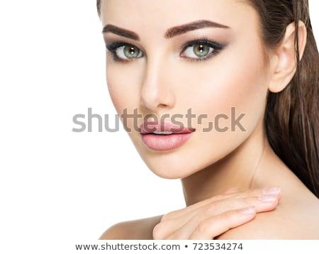 Káprázatos barna hajú gyönyörű smink portré fiatal Stock fotó © lithian