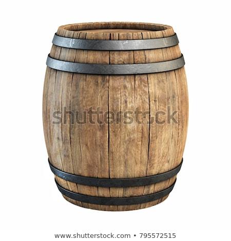 Ahşap namlu şarap su cam bar Stok fotoğraf © sibrikov