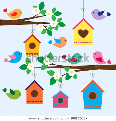 oiseau · maison · printemps · arbre · vecteur · feuilles · vertes - photo stock © beaubelle