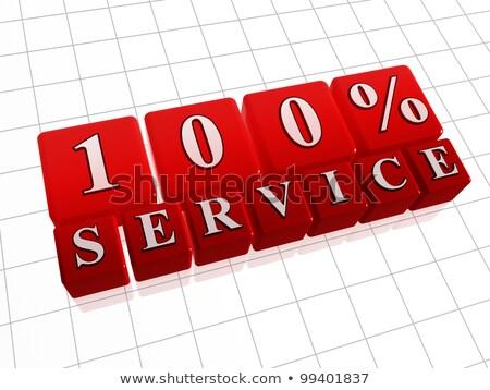 100 percent service - 3d text over red box Stock photo © marinini